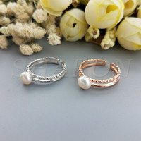 Smart Ring Freshwater Pearl Sterling Silver Adjustable Piston Ring Mountings For DIY