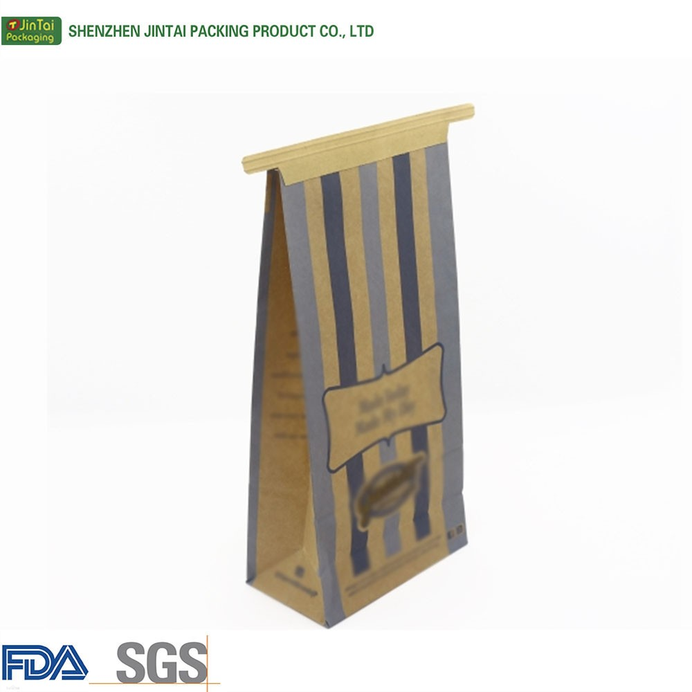 25kg kraft paper bag flat bottom tin tie bags brown kraft paper food packaging with clear window