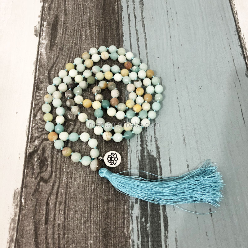 ST0419 108 prayer beads knotted necklace 8mm Facted Amazonite beaded Mala necklaces Tassel Jewelry Lotus Pendant Necklace