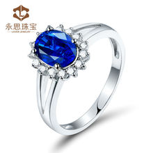 Natural Sapphire And Diamond In Solid 18k White Gold Wedding Rings For Women Stone Bridal Jewelry Wholesale LJ14J248