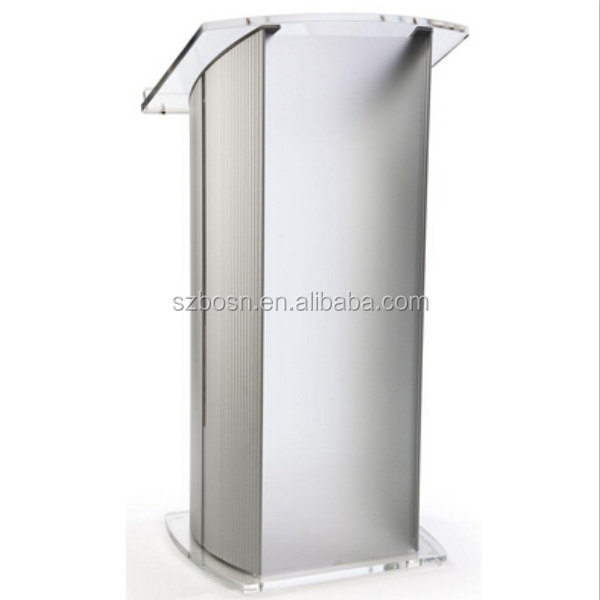 "Acrylic & Aluminum Podium / Frosted Front Panel, 46.5"" Tall - Silver & Clear"