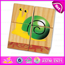 Hot sale animal shape 4PCS wooden jigsaw 3D puzzles for children in bulk W14F042