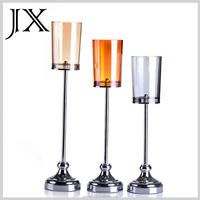 Multi Color Hurricane Stained Glass Votive Candle Holder with Metal Stem set of 3