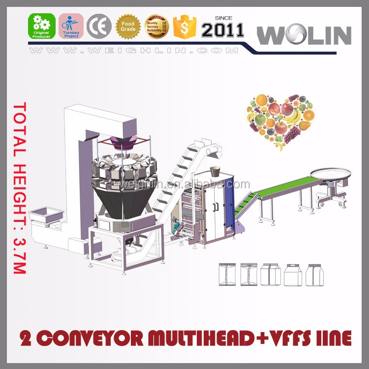 Welin direct factory supply 2 feeding conveyor multihead vertical bagging machine frozen fruit and vegetables low height line
