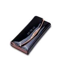 2017 New fashion European and American multi - function Black PU leather buckle ladies long wallet