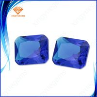 Good quality blue color rectangle shape synthetic glass gemstone with factory price