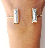 Rectangular three-dimensional convex geometry symmetry marble openings bracelet jewelry wholesale
