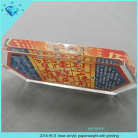 2014 HOT clear acrylic paperweight with printing