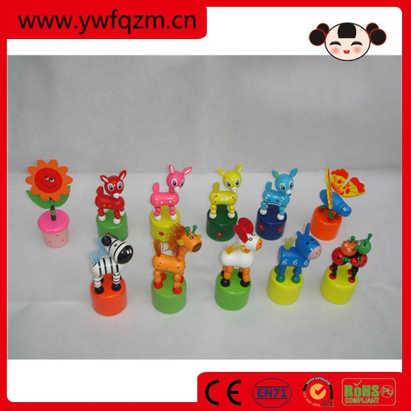 wooden toy push up animal toy