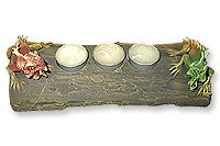 Tea Light Candle Holder With Iguanas On Wood Log