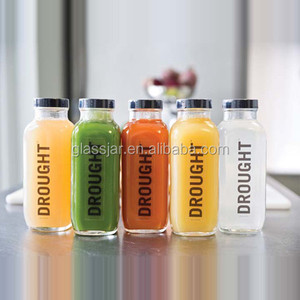 cold pressed juice bottle 250ml 300ml 500ml clear glass french square bottles with plastic screw cap
