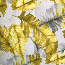 Yellow leaf pattern printed velvet fabric for sofa/100% polyester printed rayon fabric
