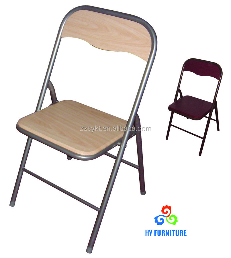 Cheap folding wooden chairs with metal frame wholesale