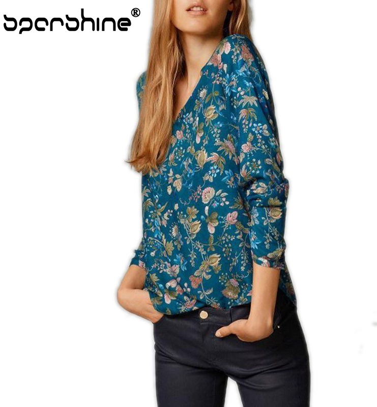 Hot Sale Summer Full Sleeve Flower Printed Women Daily Wear Blouse 2016