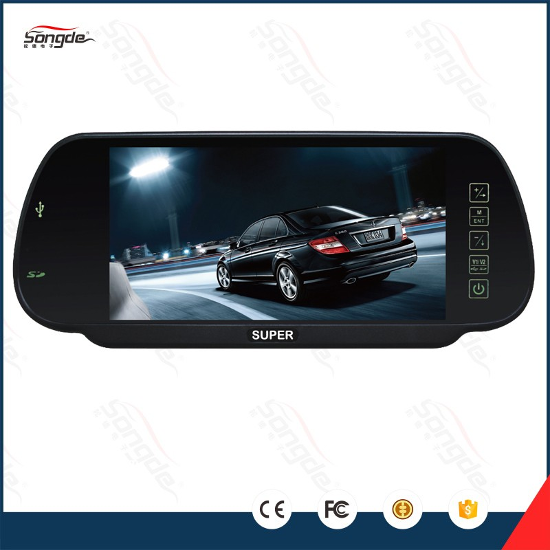 Rear view mirror 7 9 inch car gps navigation with wireless rearview camera