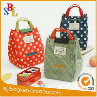 Cotton quilted cooler bags for frozen food children school lunch bag