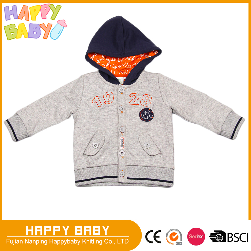 Spring Autumn Jacket with hood Cotton French Terry Printed Jersery linning Boy Children