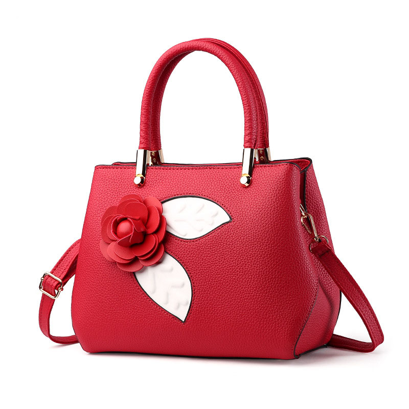 Hot Sale Designer Handbags Korea Red PU Latest Design Ladies Bag Flower Handbag For Women