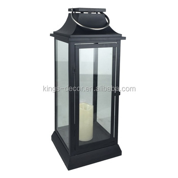 Large square black metal LED candle lantern for home decor