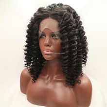 HW5012 wig cosplay afro kinky curly half ponytail lace front wig