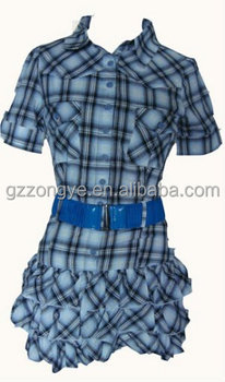 t-shirt Plaid casual lady dress OEM manufacturer in guangzhou clothing official dress