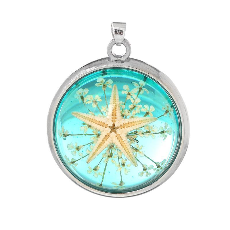 "Resin Charm Pendants Round Transparent Green Real Starfish 38.0mm(1 4/8"") x 31.0mm(1 2/8""), 2 PCs"