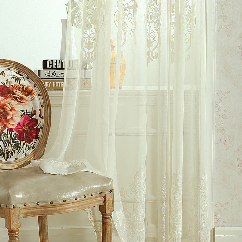 100% polyester embroidery fabric sheer curtain panel/flower embroidered curtain drapery voile sheer panel drapes drapery