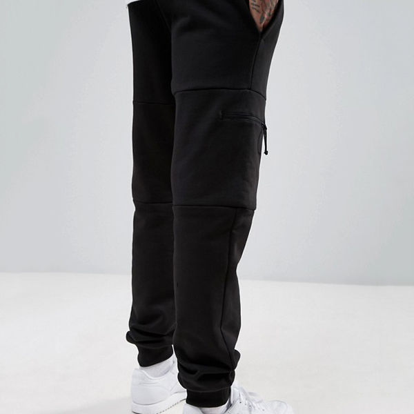 Custom wholesale blank jogger pants men black jogging pants zipper pockets