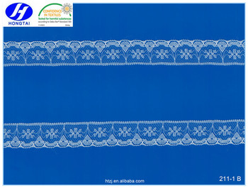 Hongtai 2017 hot selling decorative polyester 2cm lace trim in stock with factory price