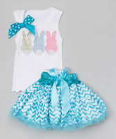 Wholesale girls Easter party bow rabbit tank top tutu dress outfits for kids