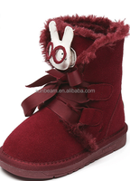 Ankle height rabbit cute lace up little girl snow boots