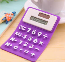 8 Digit Cute Office Stationery Solar Powered Silicone Calculator