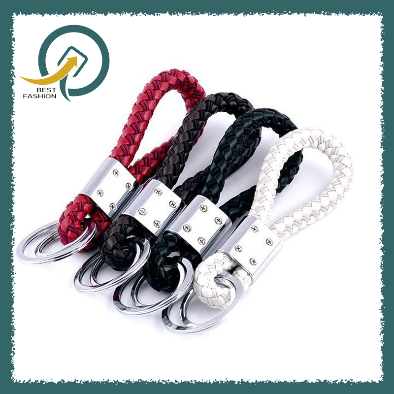 PU leather Braided Woven Rope Double Rings Fit DIY bag Pendant Key Chains Holder Car Keyrings