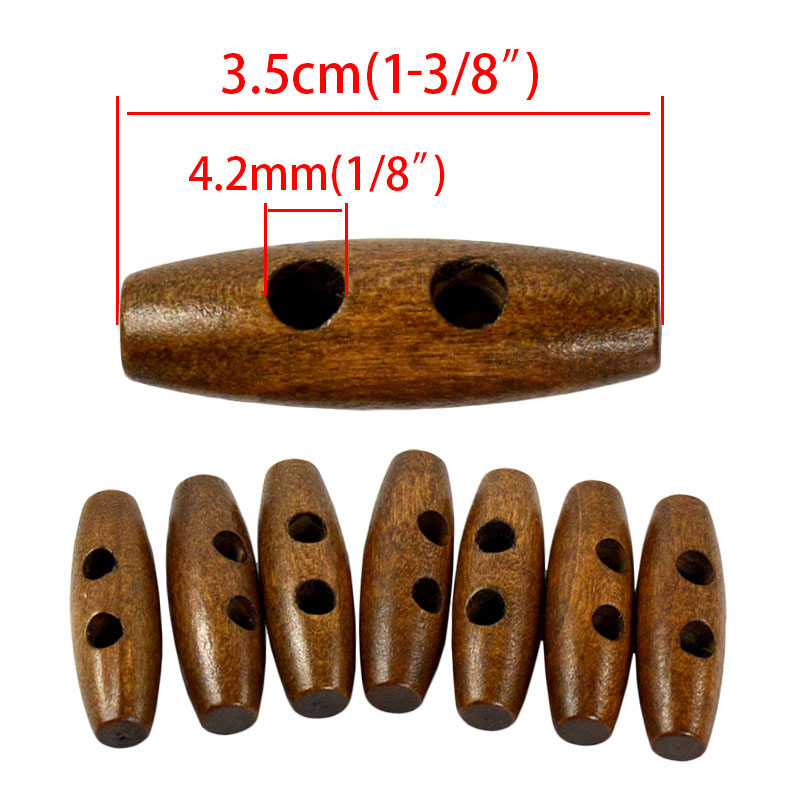 20pcs Olive Shape Wooden Clothing Buttons 2 Holes Sewing Accessories