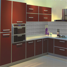 European style high golss pvc kitchen cabinets l shaped modular kitchen designs