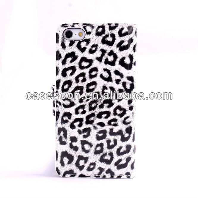 Wallet Case for iPhone 5 ,for iphone 5 leather case,Leopard Wallet Leather Case For iPhone 5 5G With Stand