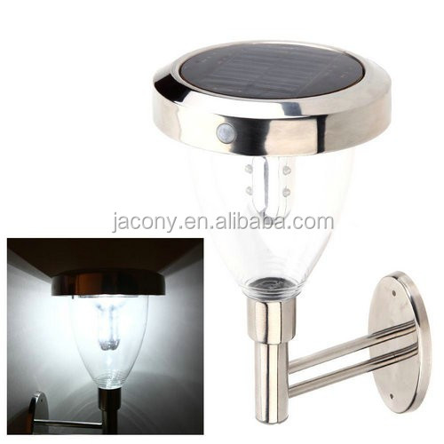 9LEDs Stainless steel Outdoor solar motion sensor Wall lamp solar garden light (JL-8542)