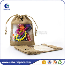 Natural Burlap Fiber Drawstring Jute Bag With Pvc Window For Cosmetic