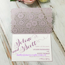 Wholesale Light Purple Royal Design Printing Wedding Invitation Lace Card At Cheap Price