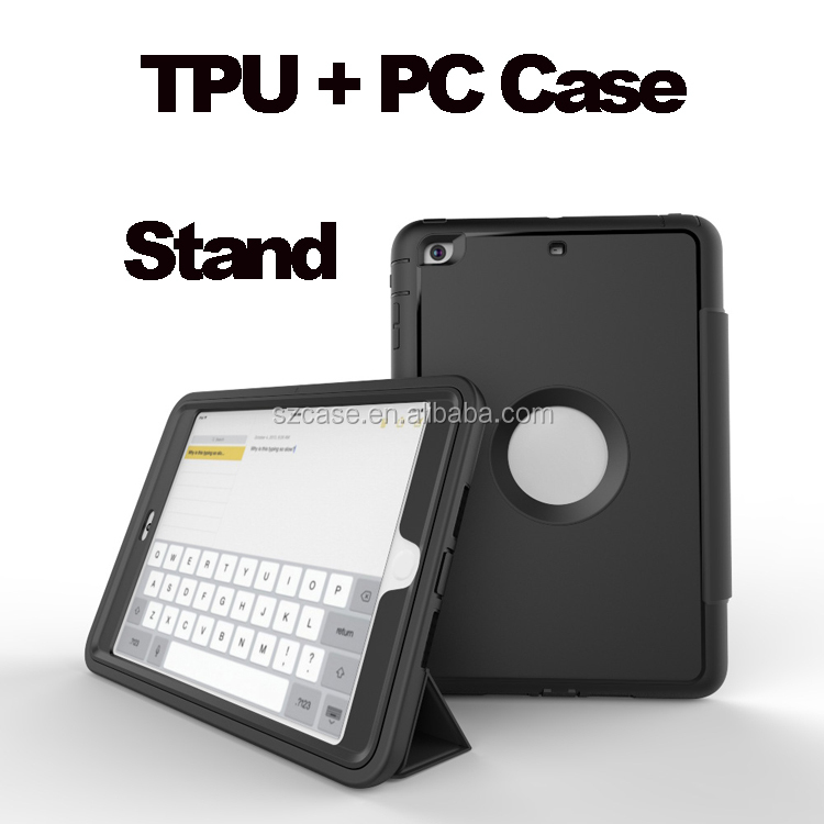 High quality case for ipad air 2 , for ipad 6 case, for ipad air tpu pc 3 in 1 stand case