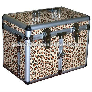 Leopard Print Cosmetic/Jewelry Train Case