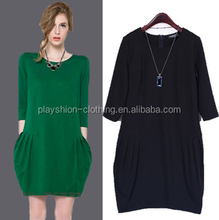 2015 autumn women Loose thin bud seven minutes of sleeve dress