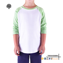 Children workout sports clothing kids boys blank fitness raglan 3/4 sleeve baseball t shirts