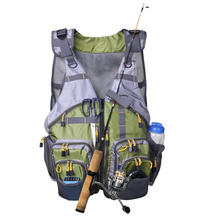 Mesh Fly Fishing Vest and Backpack Multi Pocket Fishing Chest Bag with Adjustable Size