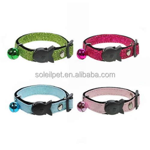 New Luxary Adjustable Shiny PU Leather Cat Collar With Plastic Buckle