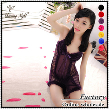 Charming night sexy bustier sexy lingerie backless babydoll lingerie transparent sexy night dress for woman with G-string