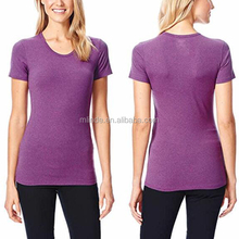Polyester Short Sleeve Slim Fit Quick Dry Scoop Neck Sexy Summer Tight T Shirt For Women Casual Sports Wear