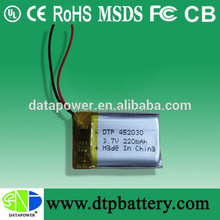 Data Power 3v lithium battery - 3.7V 220mAh with connector and PCM