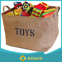 Wholesale custom large eco-friendly jute toy storage basket with handle