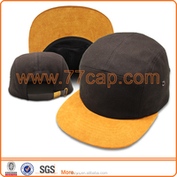 2016 OEM Custom High Quality Blank Black 5 Panels Snapback Hats Wholesale Snapback Cap with Leather Brim